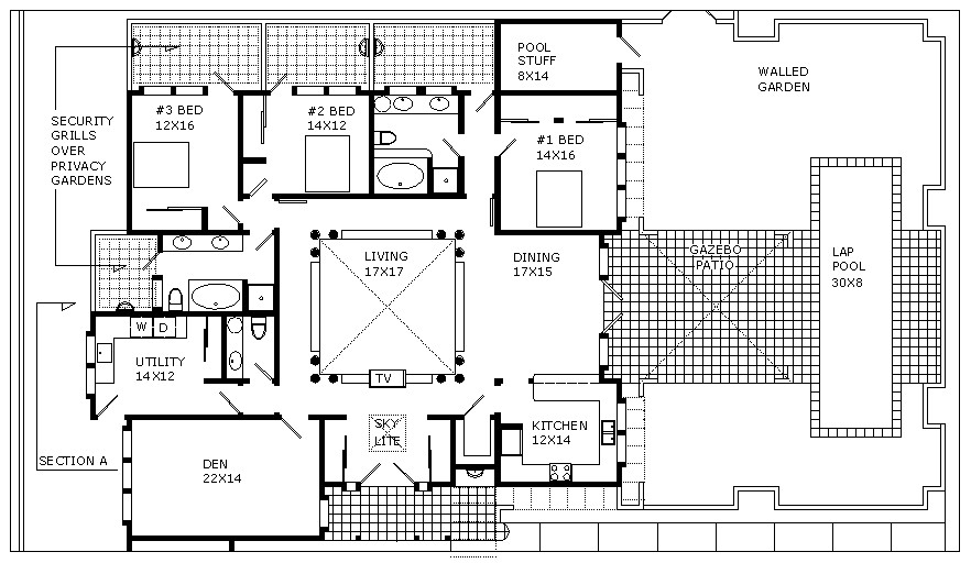 Floor plan and cross section